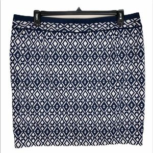 Mario Serrani Navy/White Printed Lined Skirt Sz XL